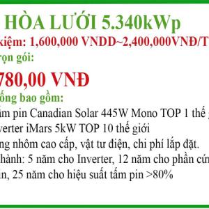 Hệ thống điện mặt trời hòa lưới 4,895KWp