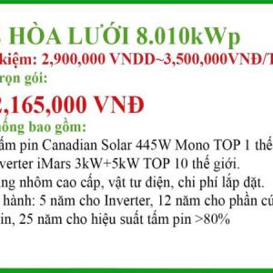 Hệ thống điện mặt trời hòa lưới 8.010KWp